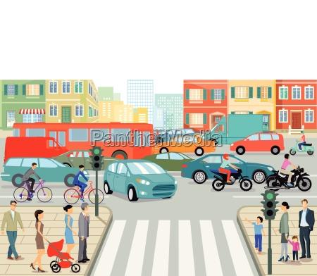 strassenverkehr in der stadt illustration