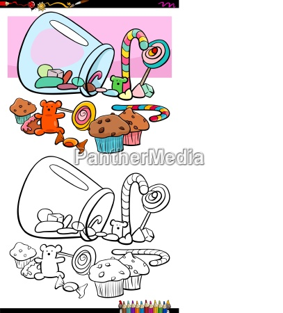 sweets and candies group coloring book