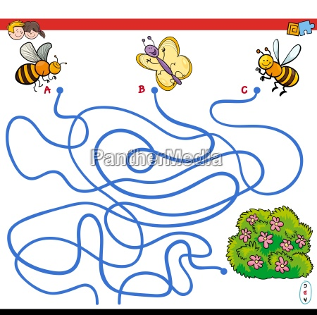 paths maze game with insects and