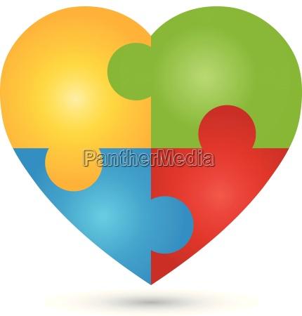 heart puzzle love logo