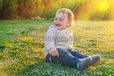 cute baby boy outdoors