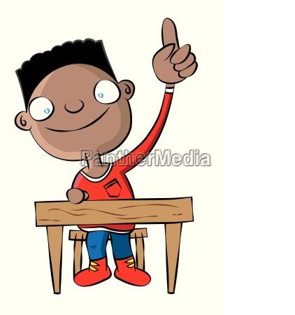 niedliche schwarze schule junge heben hand