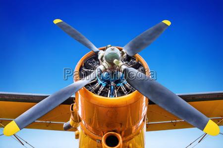 propeller of an aircraft against a