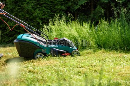 mann schneidet gras mit einem elektro