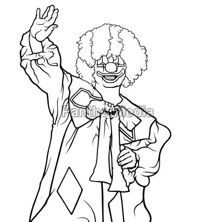 happy clown waving