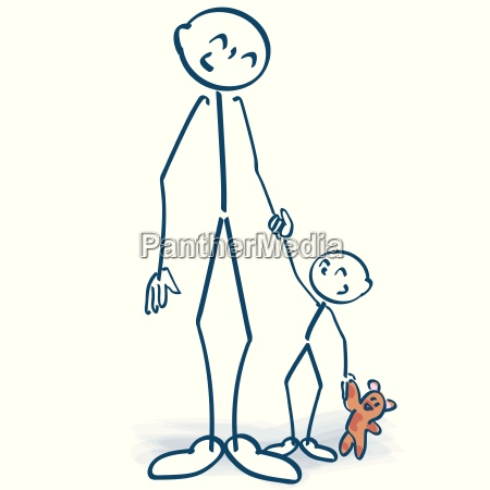 stick figure as father with child