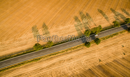 aerial view of a country road