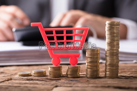close up of shopping cart on