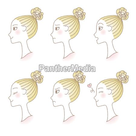set of womans profile emotions facial