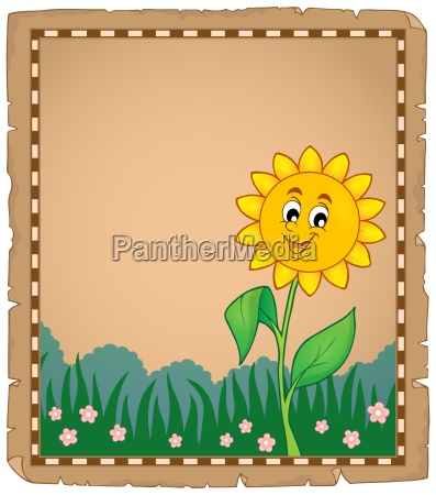 parchment with happy flower 1