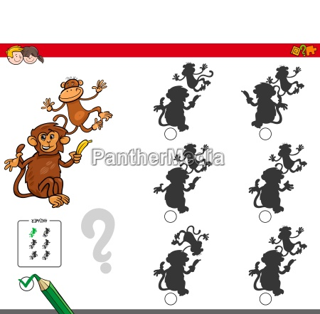 shadow activity game with cartoon monkeys