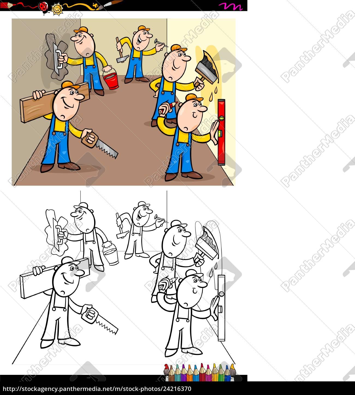 Arbeiter Oder Bauarbeiter Zeichen Gruppe Farbbuch Stock Photo