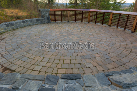 garden backyard circular brick paver patio