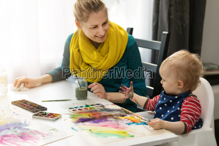 mother and daughter doing watercolor painting