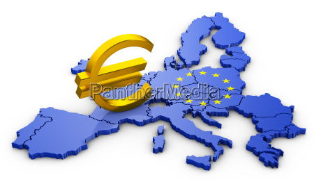 euro sign on map