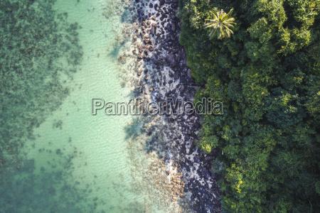 aerial drone flight over beautiful beach