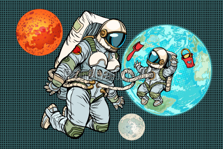 astronaut mother and child on planet