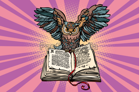 owl on an old book a
