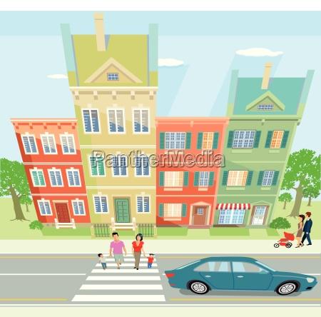 stadtansicht mit spaziergaenger illustration