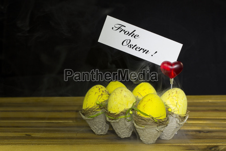 easter eggs with red heart and