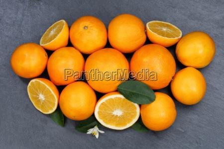 orangen orange frucht fruechte schieferplatte von