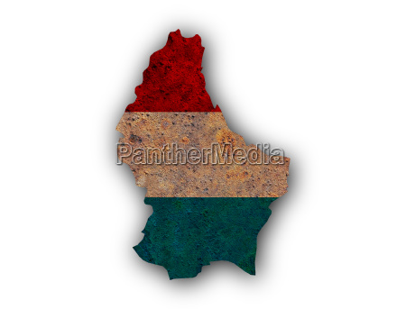 karte und fahne von luxemburg auf