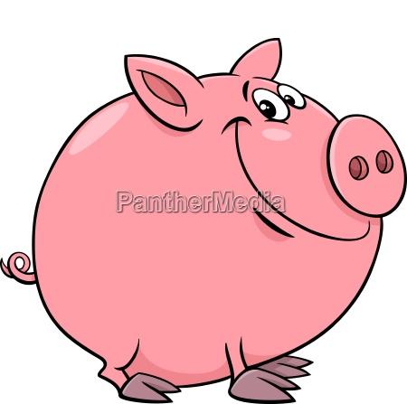 funny pig character cartoon illustration