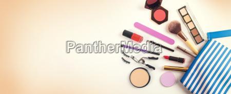 cosmetics bag with group of make