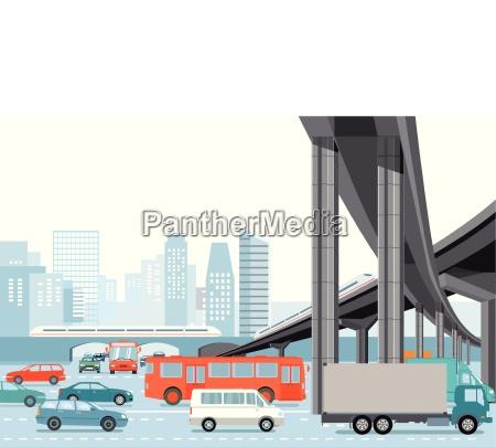 strassenverkehr in der stadt mit hochbahn