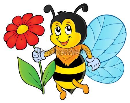 happy bee holding flower theme 1