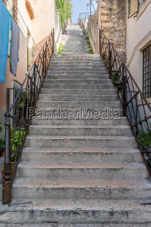 stone staircase in verona in italy