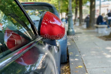 detail of a car with red