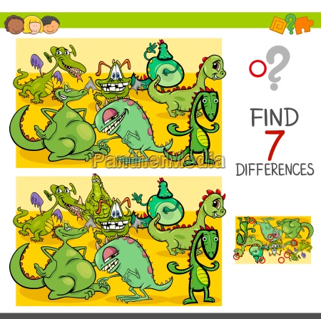 find differences with dragon fantasy characters