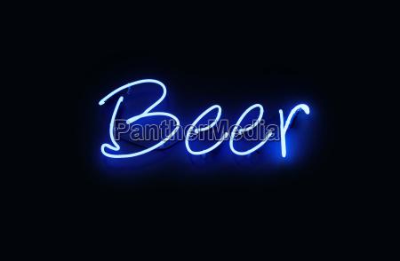 close up beer blue neon light