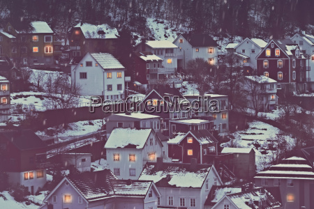 norway beautiful city covered with snow