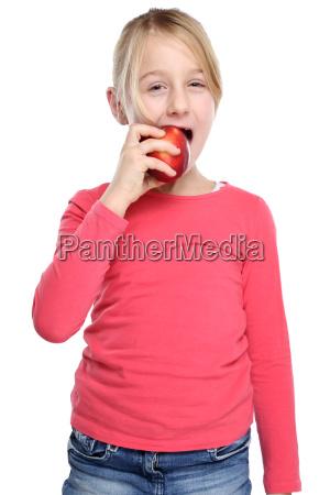 girl child apple fruit fruits eat