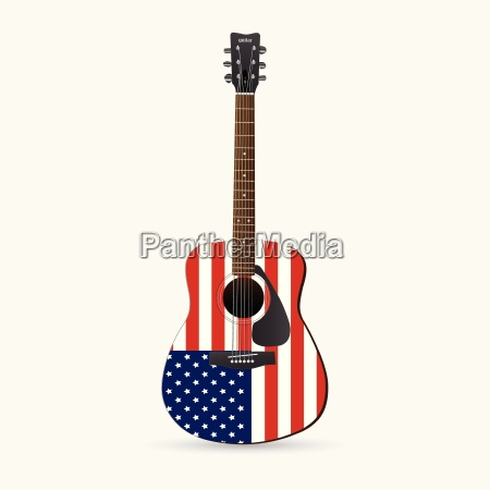 red white and blue guitar