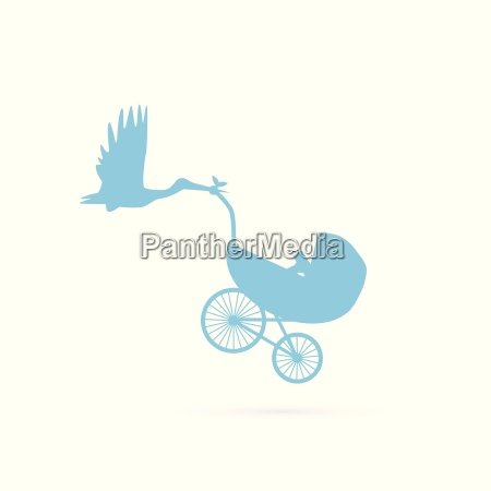 baby stork and stroller illustration
