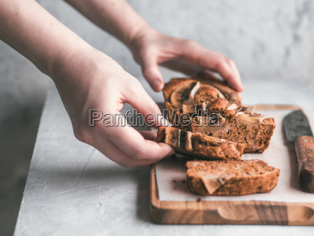 low fat banana bread copy space