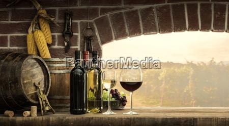 cellar window and wine bottles