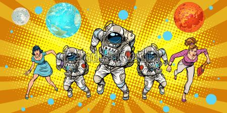 women and astronauts running around the