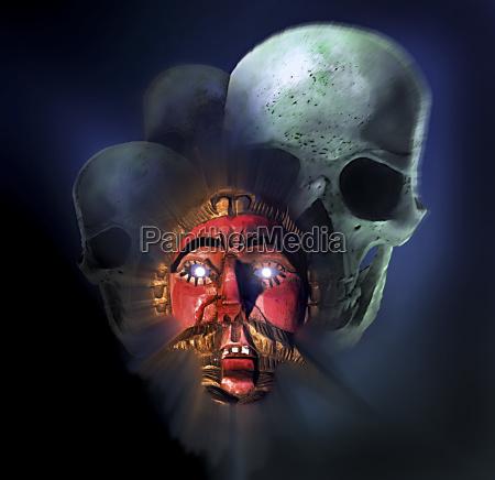 maske aus guatemala stellt weissen eroberer