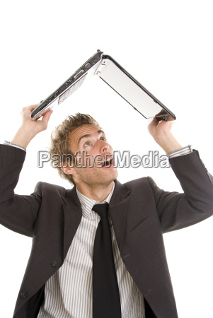 young business man with laptop over