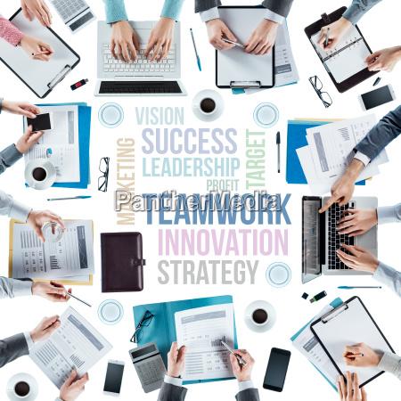 business konzepte und team bei der
