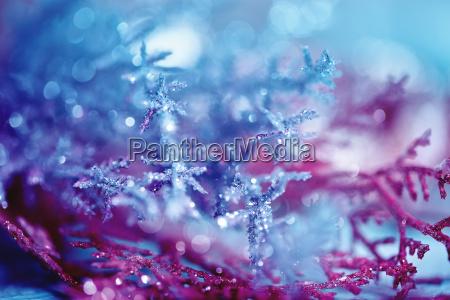 blue pink bokeh abstract light snowflake