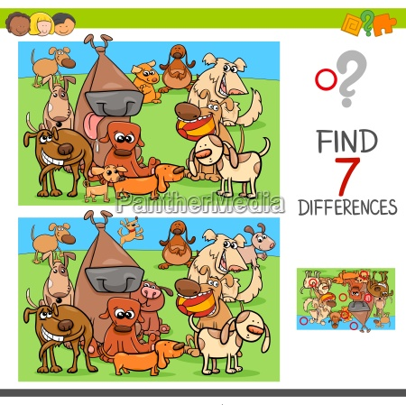 find differences game with dogs animal