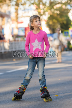 six year old girl roller skating