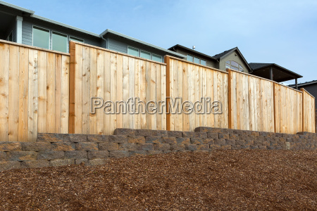 new home backyard wood fencing
