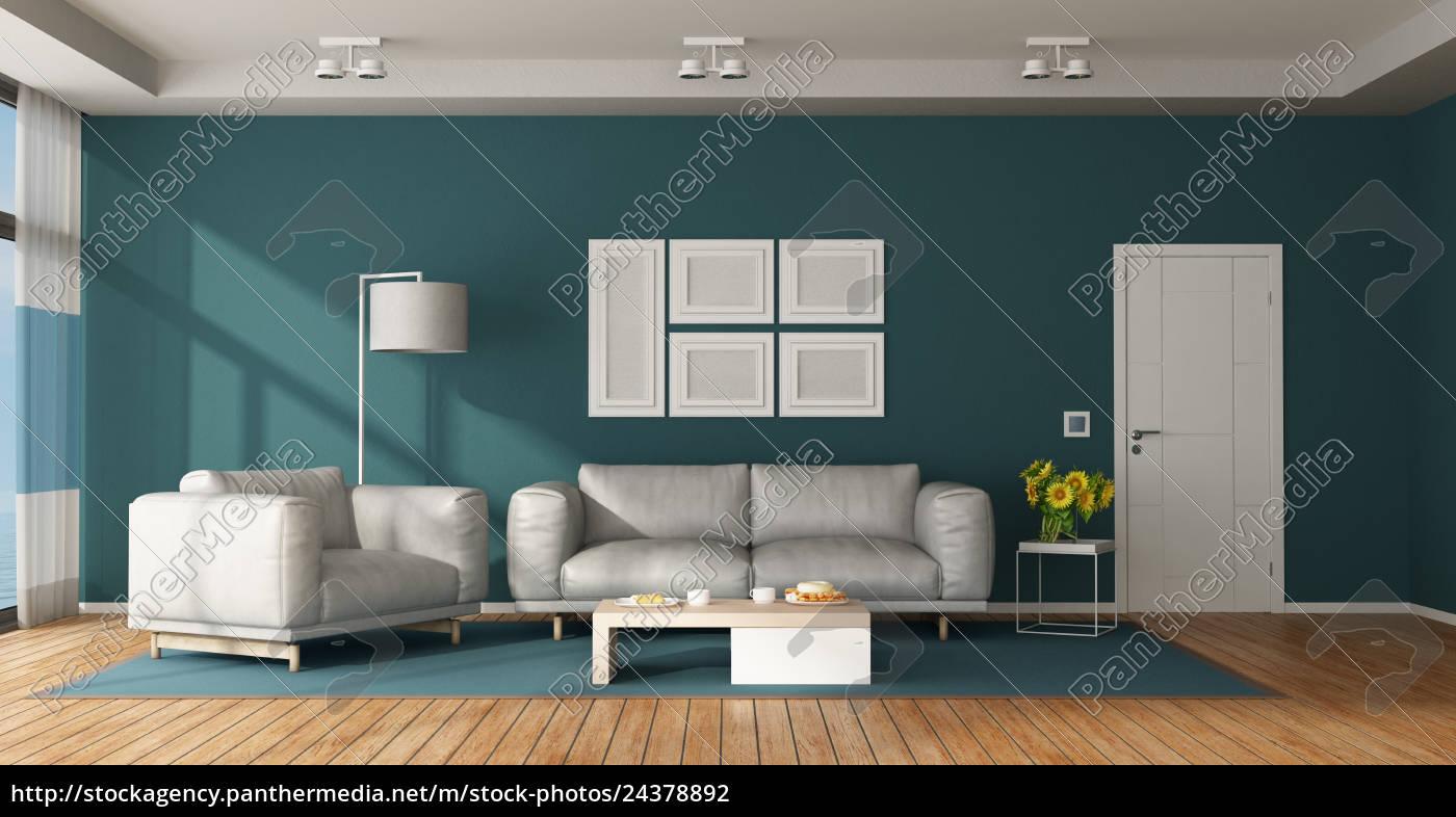 Lizenzfreies Foto 24378892   Blaues Und Weißes Modernes Wohnzimmer