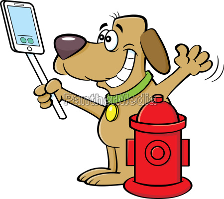 cartoon illustration of a dog taking